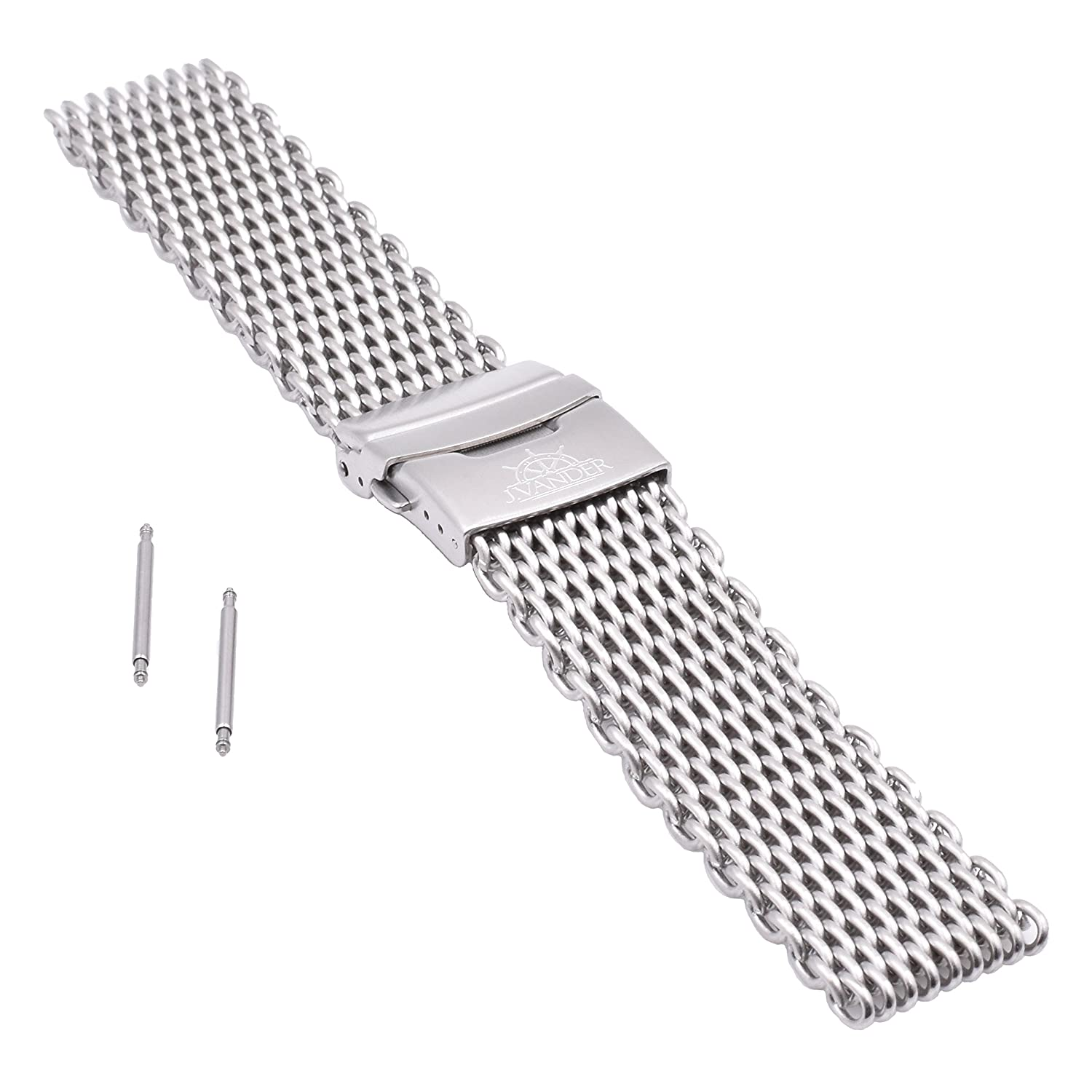 J.VANDER V.2 Milanese 316L Stainless Steel Shark Mesh Dive Watch Band Strap - Premium Clasp