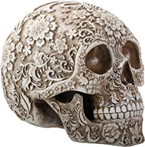 SUMMIT COLLECTION Day of The Dead 8 Inch White and Light Brown Colored Floral Human Skull Collectible