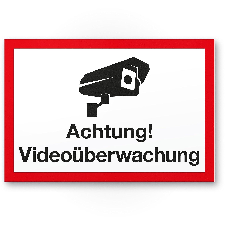 Advertencia Cartel de videovigilancia (Blanco de rojo, 30 x ...