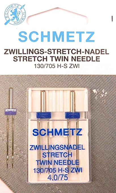 Schmetz Stretch Zwilling Aguja doble 130/705 4,0/75 plano pistón para máquinas de coser (pack x 2)