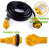 Leisure RV 25' Power / Extension Cord with 30 AMP Male Standard/30 AMP Female Locking Adapter