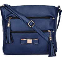 GLOSSY Urban Fad Girl's PU Sling Bag with 5 Zip Compartments (Blue)