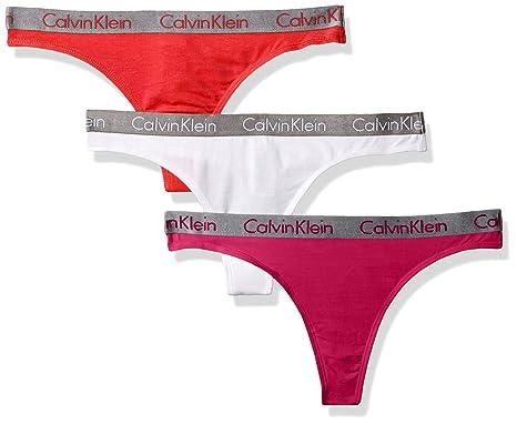 ccba17da7d Calvin Klein Women s Radiant Logo Cotton 3 Pack Thong Panty at Amazon  Women s Clothing store