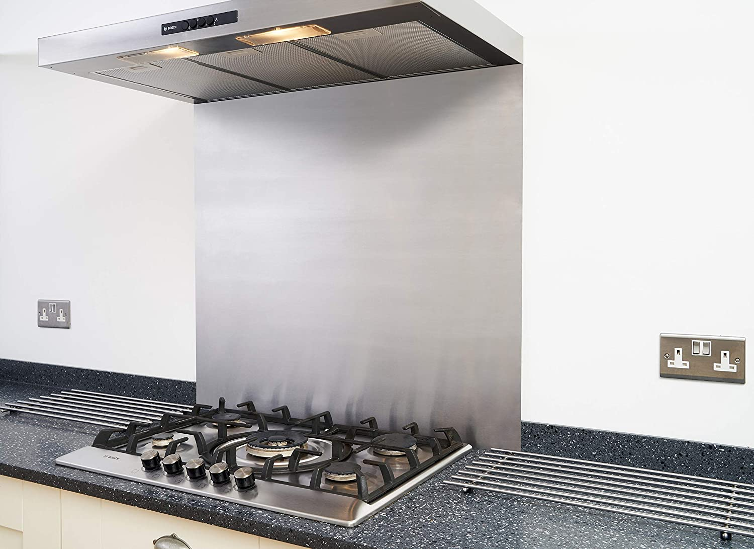 Fire Door Guru® Satin Stainless Steel Splashback for Kitchen/Cooker Hood - 600 x 450mm - 1.2mm Thick - Easy to Install