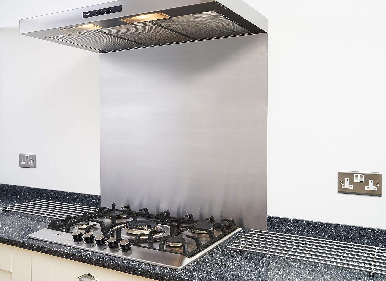 en acier inoxydable satin/é Cr/édence pour cuisine//hotte/ /TVA Enregistr/ée /Autocollants/ /600/x 750/mm/