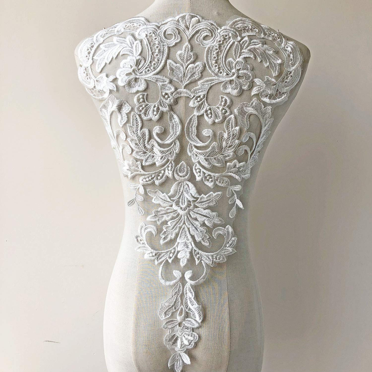Vintage Venice Lace Applique Fine Embroidery Off-White Flower Lace Patch Sewing Addition for Ballgown Wedding Dresses Gown