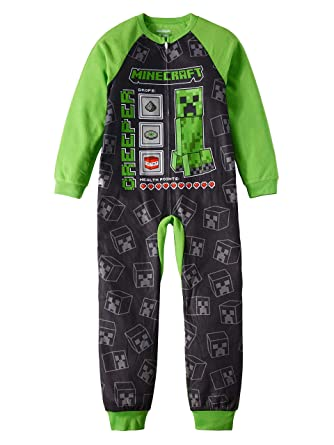 85dc1b84 Minecraft Pajamas for Boys Creeper Stats and Mats Blanket Sleeper (Large  (10/12