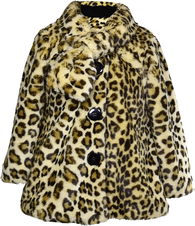 Widgeon Big Girls\' Button Front Faux Fur Coat, Amur Leopard, Size 6 81BgYgwNzxL