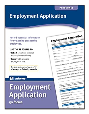 Amazon.Com : Adams Application For Employment, Forms And