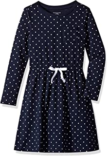 navy//white simple dot with white bow L Essentials Big Girls Long-Sleeve Elastic Waist T-Shirt Dress