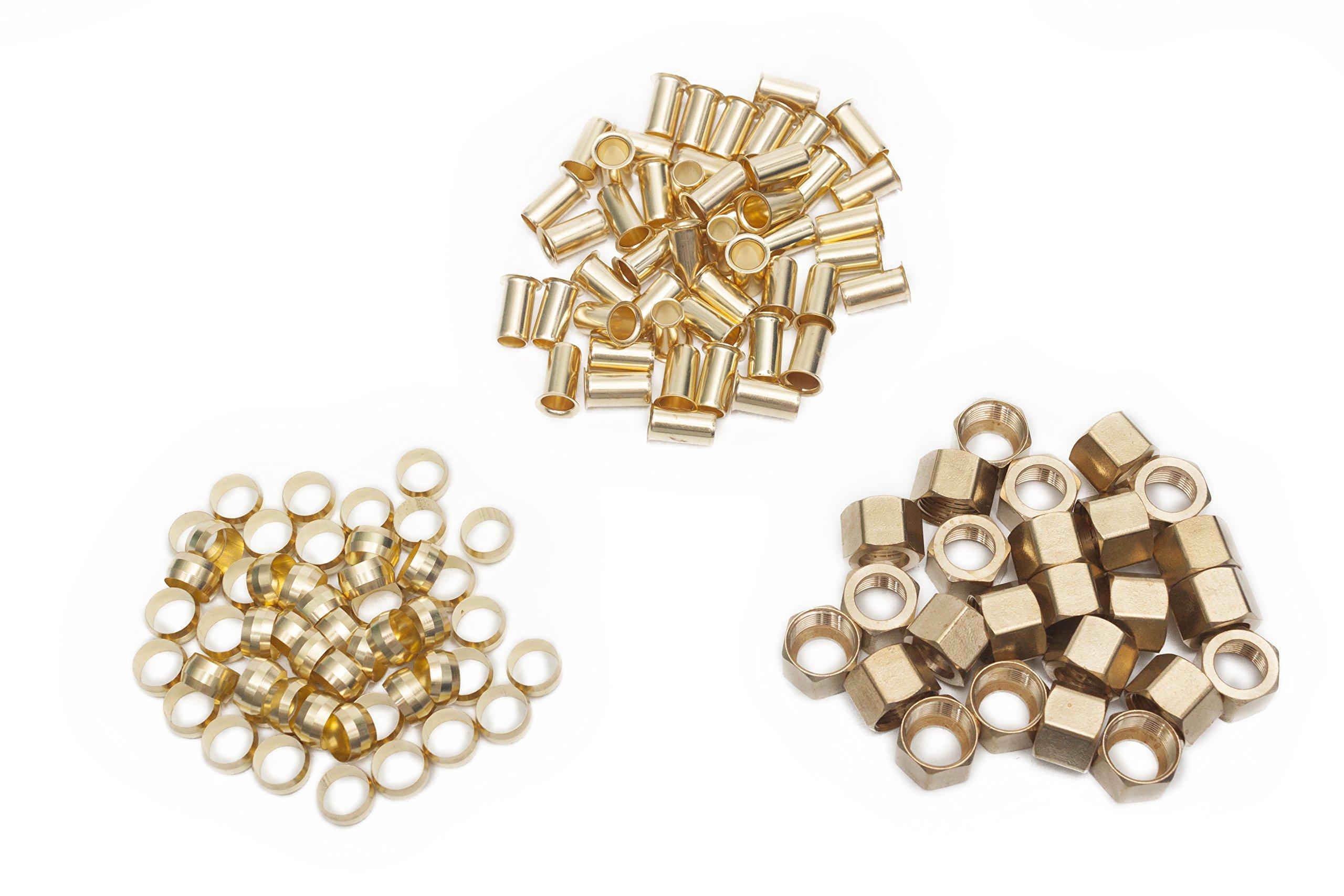 LTWFITTING Value Pack 1/2'' OD Brass Compression Insert,Sleeve Ferrule,Nut (Pack of 125)