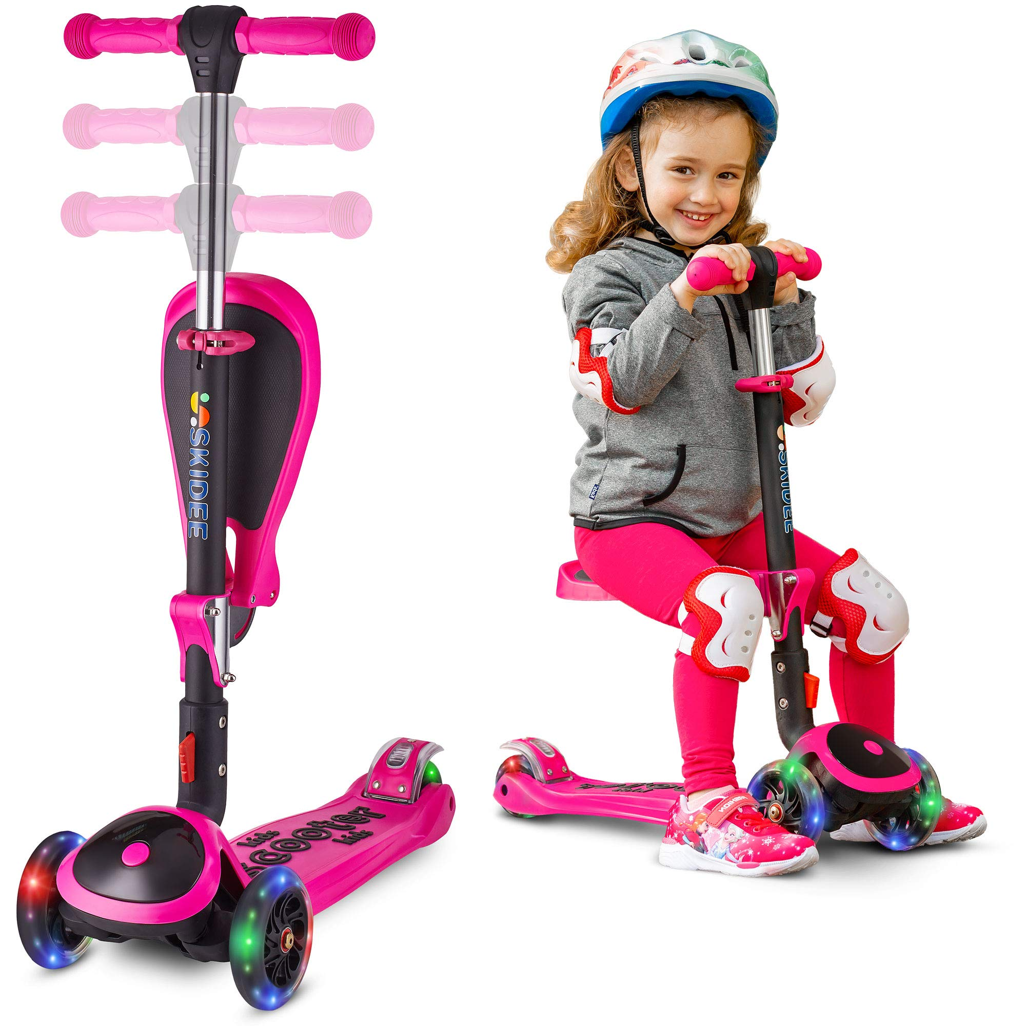 Scooter for Kids with Folding Seat - New 2-in-1 Adjustable 3 Wheel Kick Scooter for Toddlers Girls & Boys - Fun Outdoor Toys for Kids Fitness, Outside Games, Kid Activities - Boy & Girl Toys - Y200 by S SKIDEE