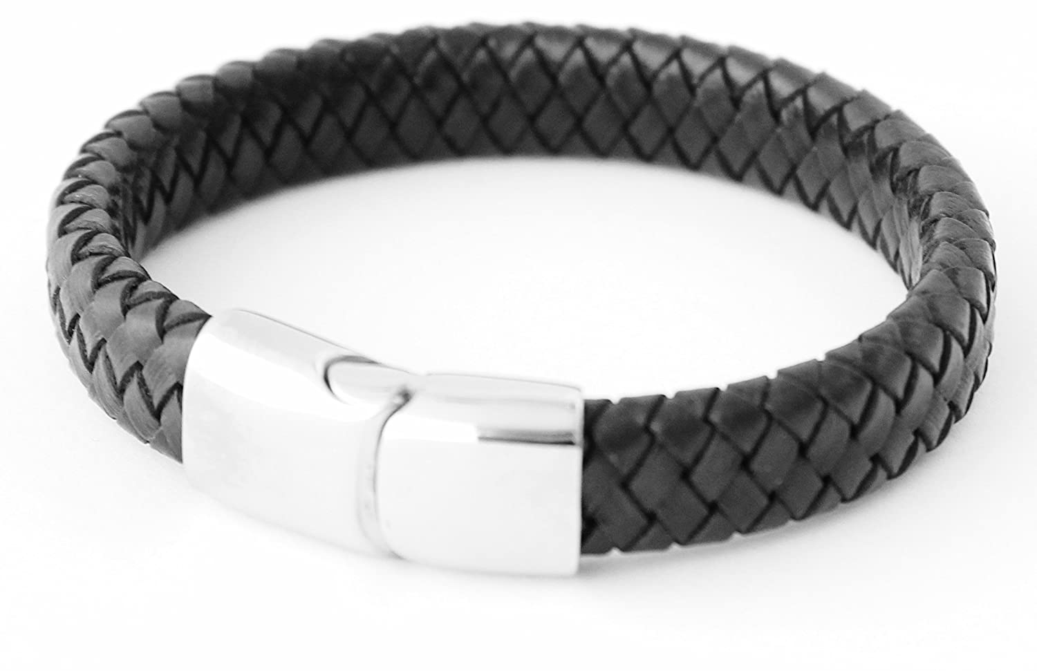 Boys Black Plaited Leather Personalised Bracelet - Any engraving FREE Bluerock BayTM boysblkplt