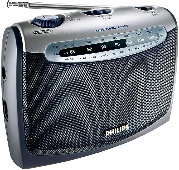 Philips AE2160/04 - Radio portátil (Sintonizador FM/OM, Toma de Auriculares estéreo), Negro