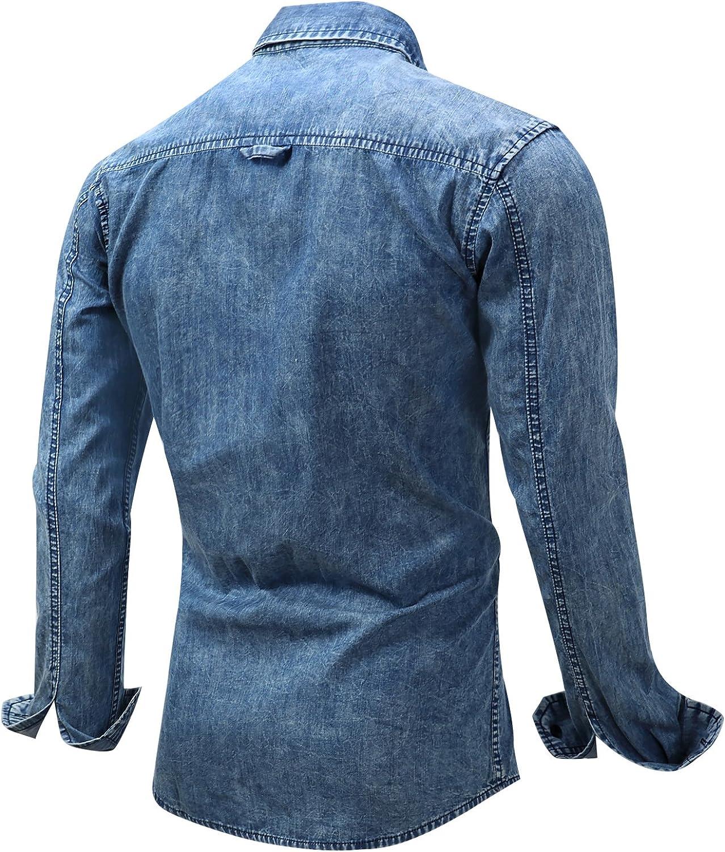 Kodiak Brown Bear Mens Cotton Dress Shirt Casual Button Down Denim Shirts for Long Sleeve