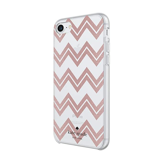 info for 53dfc 5a379 Incipio Apple iPhone 6/6S/7/8 Kate Spade Hard-Shell Case - Chevron (Rose  Gold Glitter/Clear)