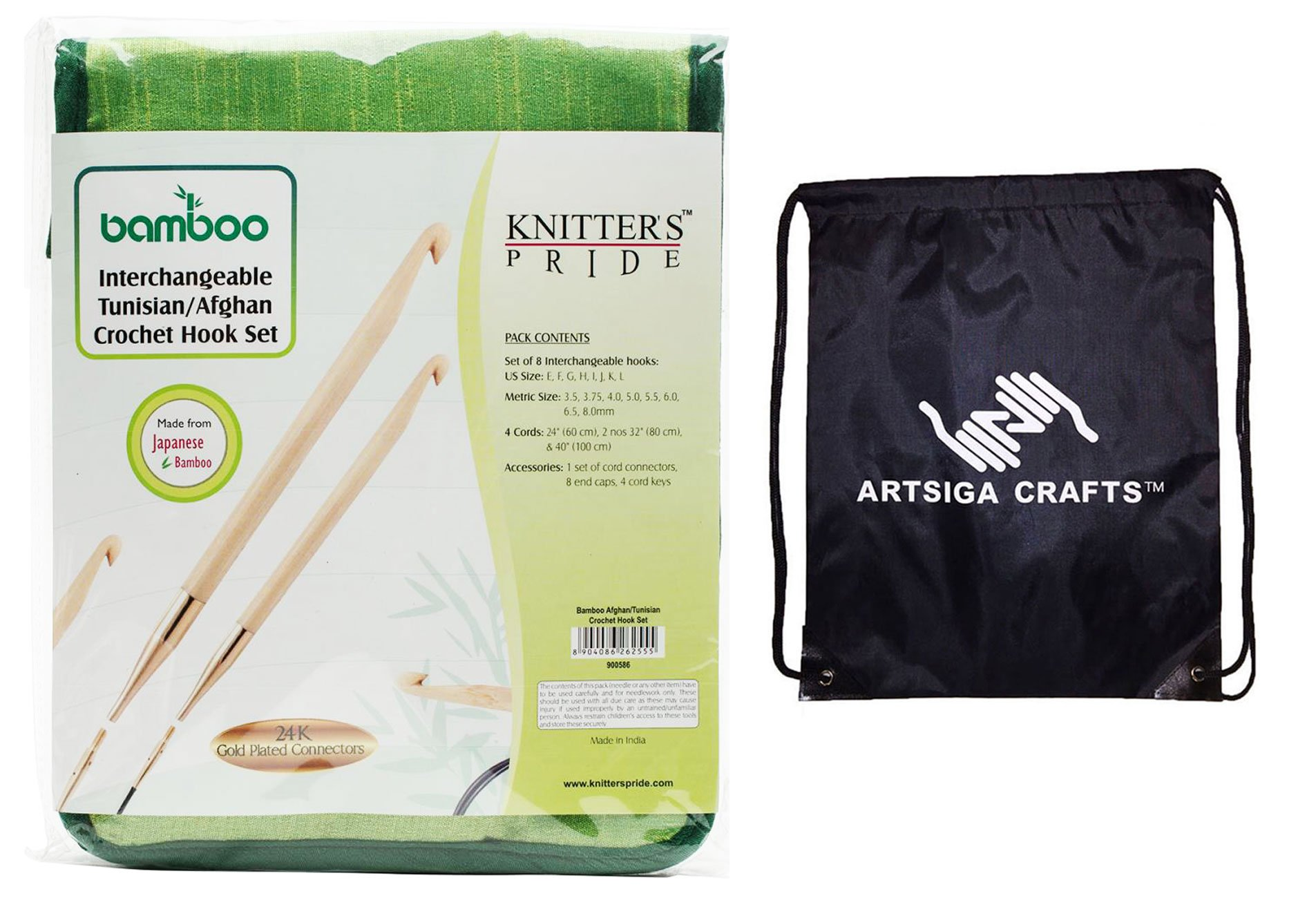 Knitter's Pride Knitting Needles Bamboo Interchangeable Afghan Tunisian Crochet Hook Set Bundle with 1 Artsiga Crafts Project Bag 900586
