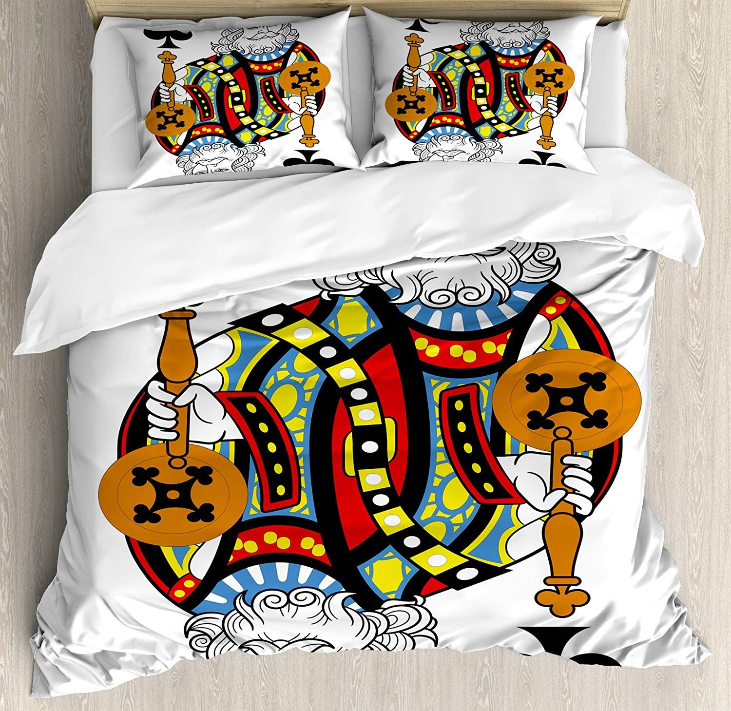 Twin Size King 3 PCS Duvet Cover Set, King of Clubs Playing Gambling Poker Card Game Leisure Theme Without Frame Artwork, Bedding Set Quilt Bedspread for Children/Teens/Adults/Kids, Multicolor
