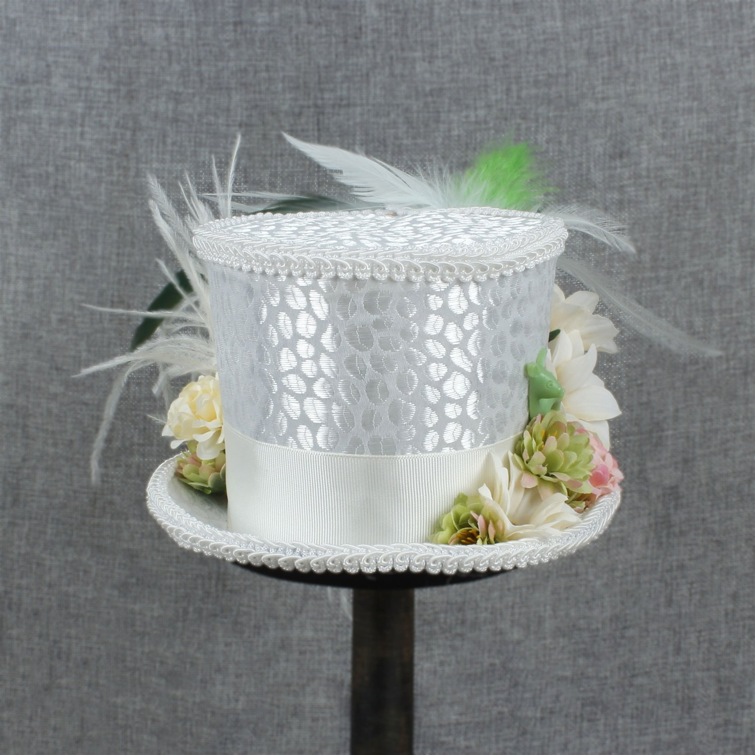 LL Women's White Mini Top Hat Tea Hat Mad Hatter Tea hat, Bridal Hat, Kentucky Derby hat (Color : White, Size : 25-30cm) by LL (Image #4)