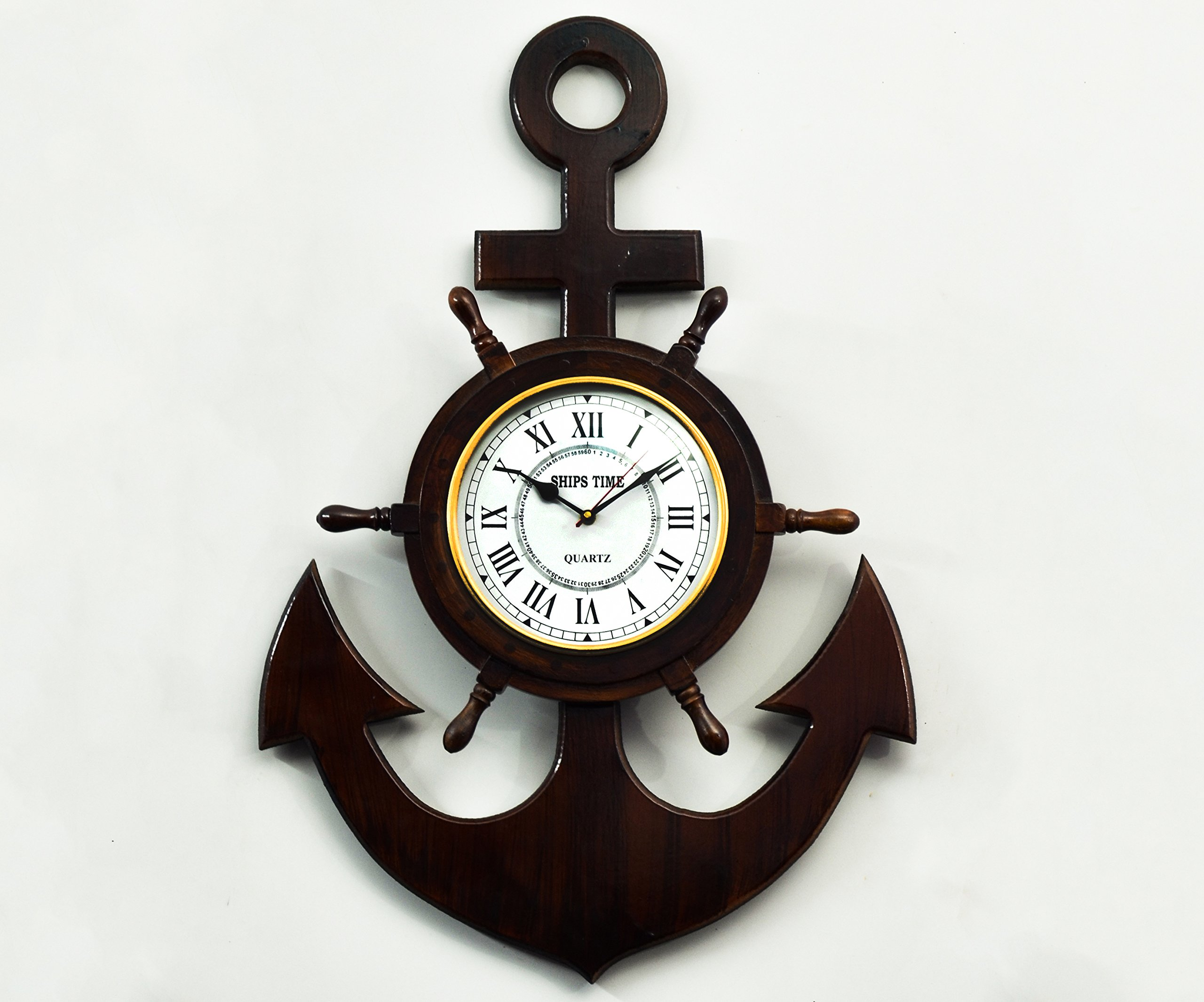 Handcrafted Anchor Wooden Ship Wheel for Wall Decor/Clock by STAR INDIA CRAFT - Wooden Ship Wheel with Premium 8'' Roman Dial, Indian Rosewood (30'' x 20'' x 3.25'') Inches