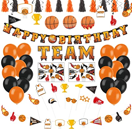 Basketball Party Supplies Decorlife March Madness Decorations Tassel Photo Booth Props Total 50PCS Tattoo Stickers Centerpiece Hanging Swirls Lanterns Including Happy Birthday Basketball Banners Balloons