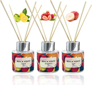 Binca Vidou Reed Diffuser Set of 3, Apple Lemon Strawberry Oil Reed Diffusers for Bedroom Living Room Office Aromatherapy Oil Reed Diffuser for Gift & Stress Relief 50ml x 3