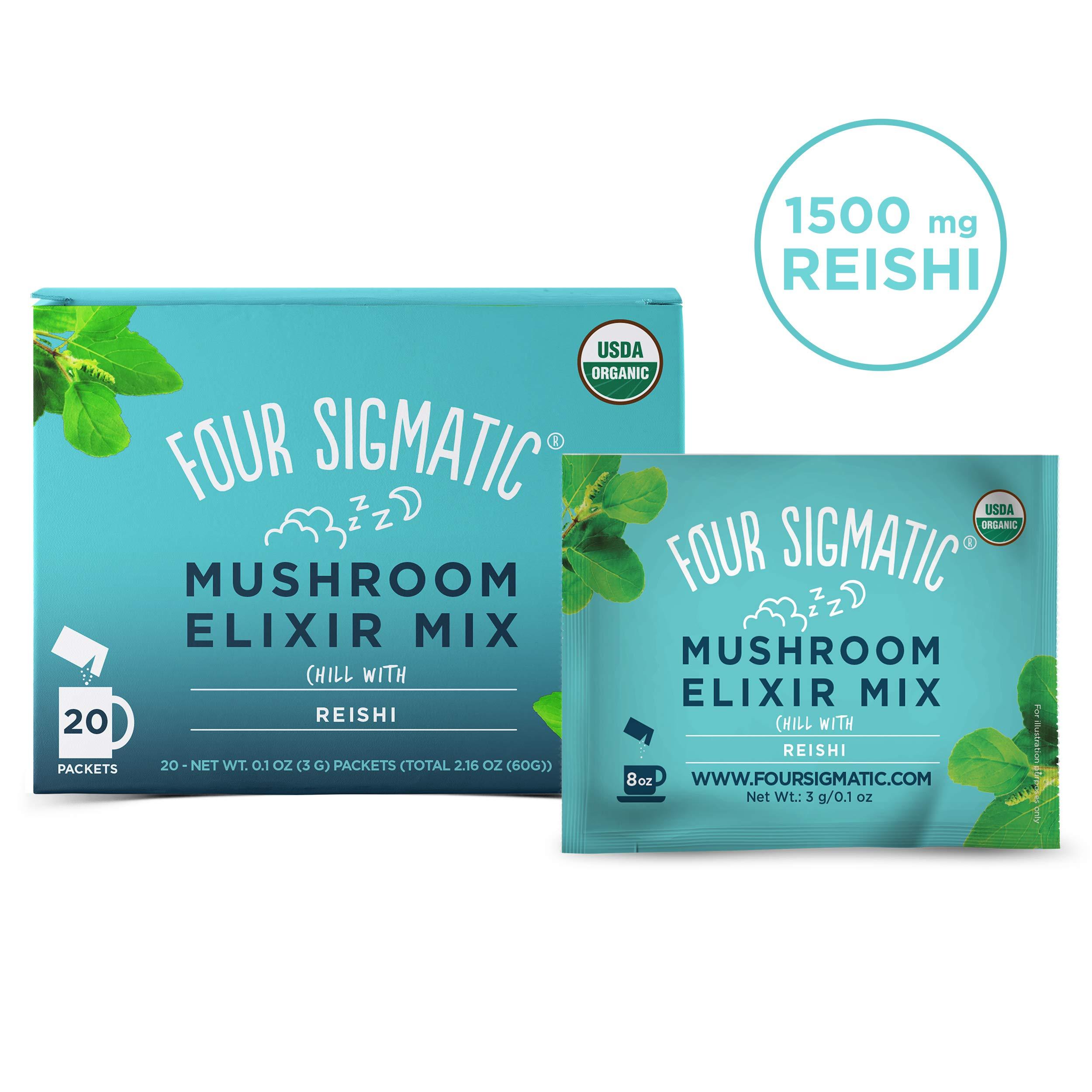 Four Sigmatic Reishi Mushroom Elixir - USDA Organic Reishi Mushroom Powder - Natural Calm, Relax, Sleep - Vegan, Paleo - 20 Count by Four Sigma Foods