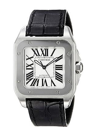 10512ae0b15ad Amazon.com: Cartier Midsize W20106X8 Santos 100 Automatic Leather Watch:  Cartier: Watches