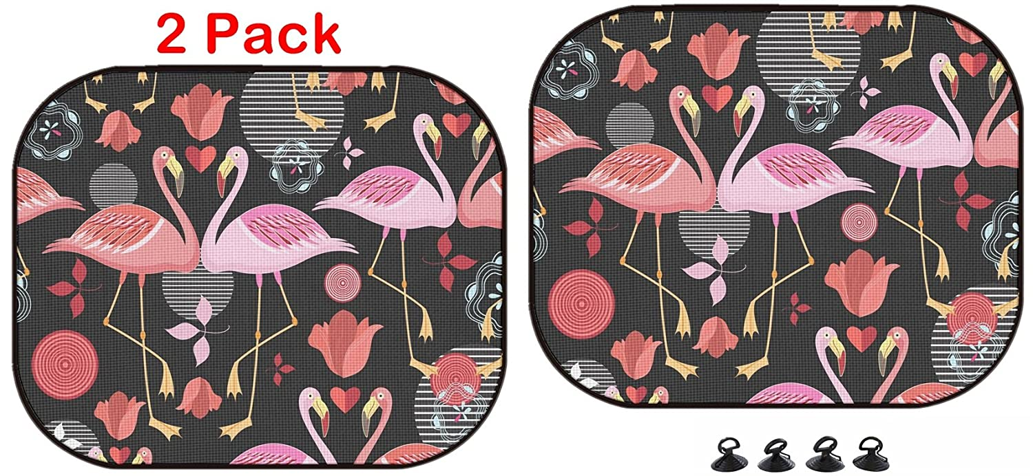 42851240 Seamless Pattern of red and Pink Flamingos on a Black Background Luxlady Car Sun Shade Protector Block Damaging UV Rays Sunlight Heat for All Vehicles 2 Pack ID