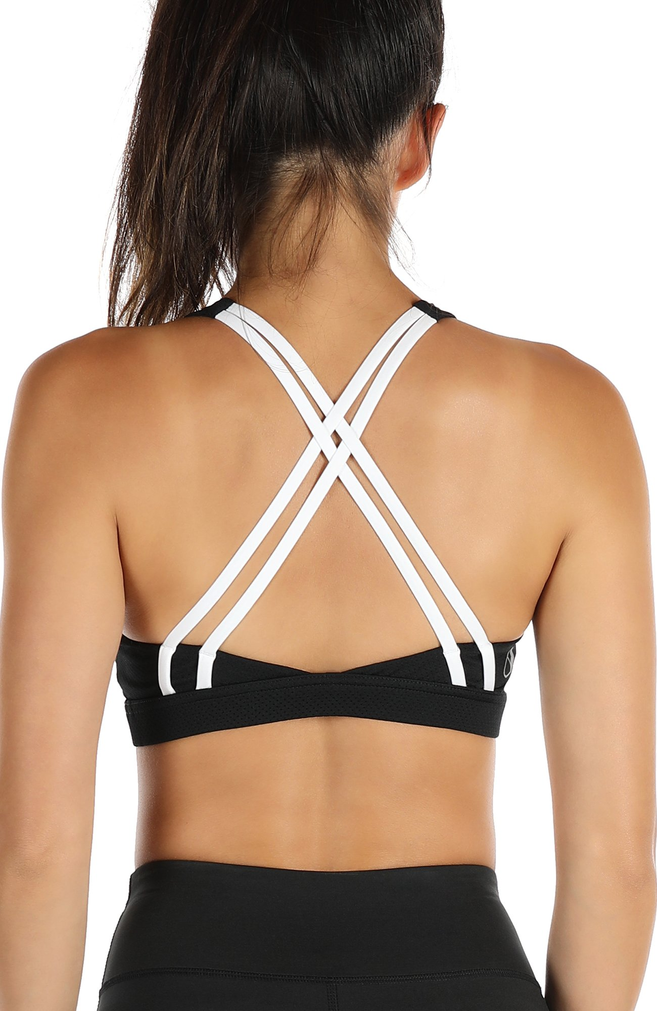 icyZone Sports Bra for Women Workout Yoga Tops Athletic Strappy Padded Bralette (L, Black)