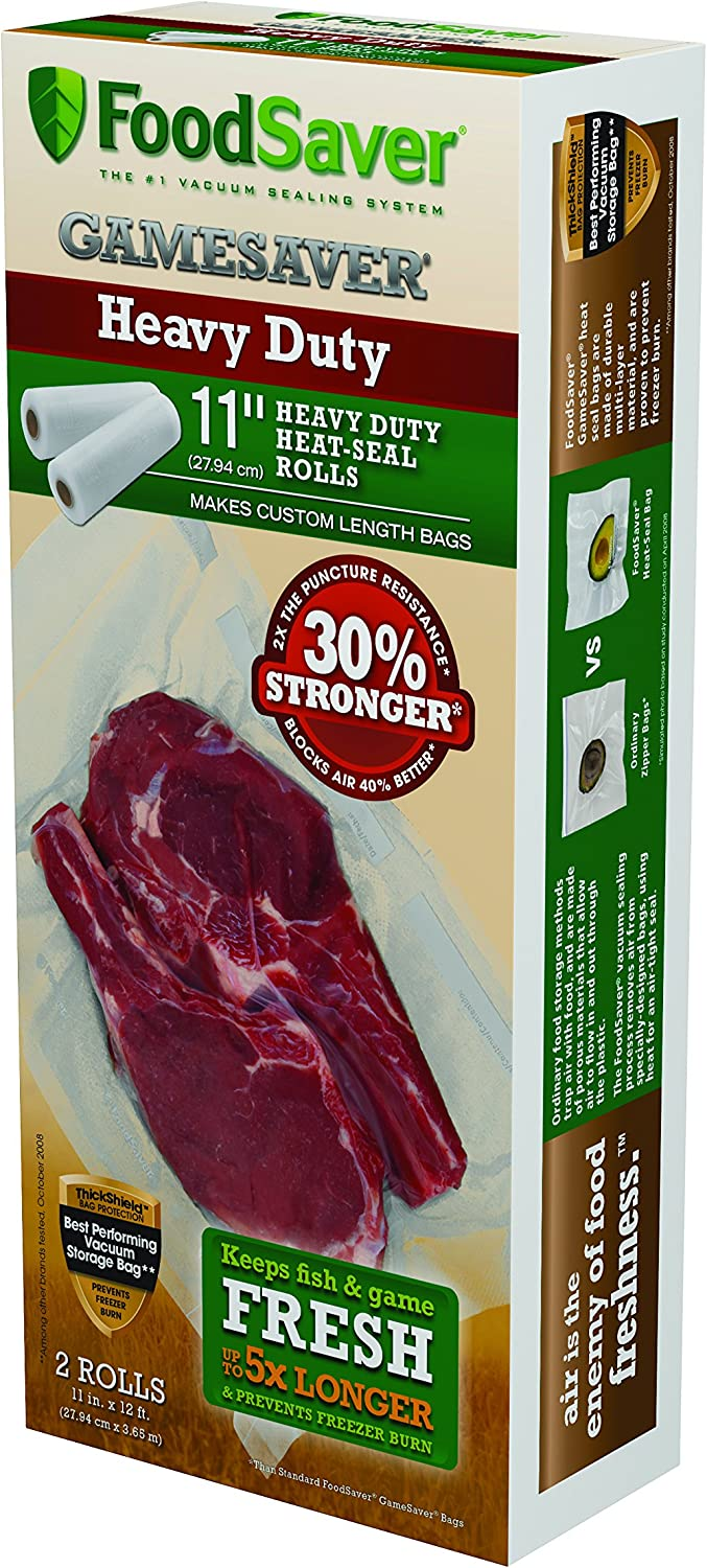 """FoodSaver 11"""" x 12' Heavy-Duty Puncture Resistant Rolls, 2-Pack"""