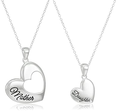 Amazon sterling silver mother daughter heart pendant set of sterling silver mother daughter heart pendant set of two necklaces 18quot aloadofball Gallery