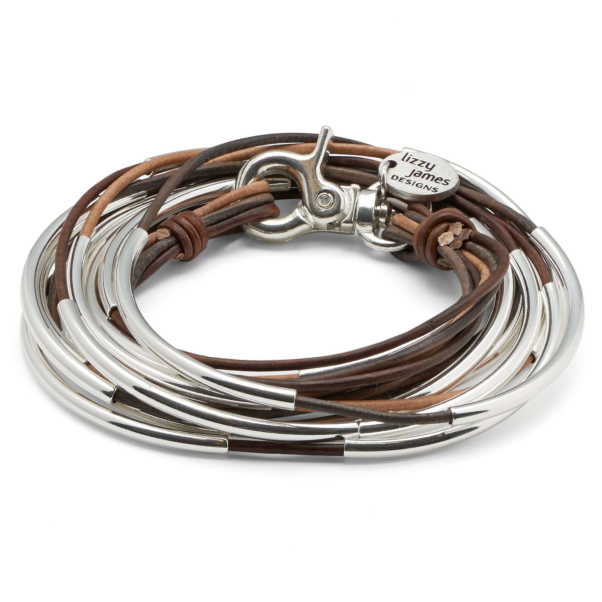 Lizzy Too 5 Strand Brown Silverplate XLarge Bracelet Necklace with Tricolor Brown Leather Wrap by Lizzy James