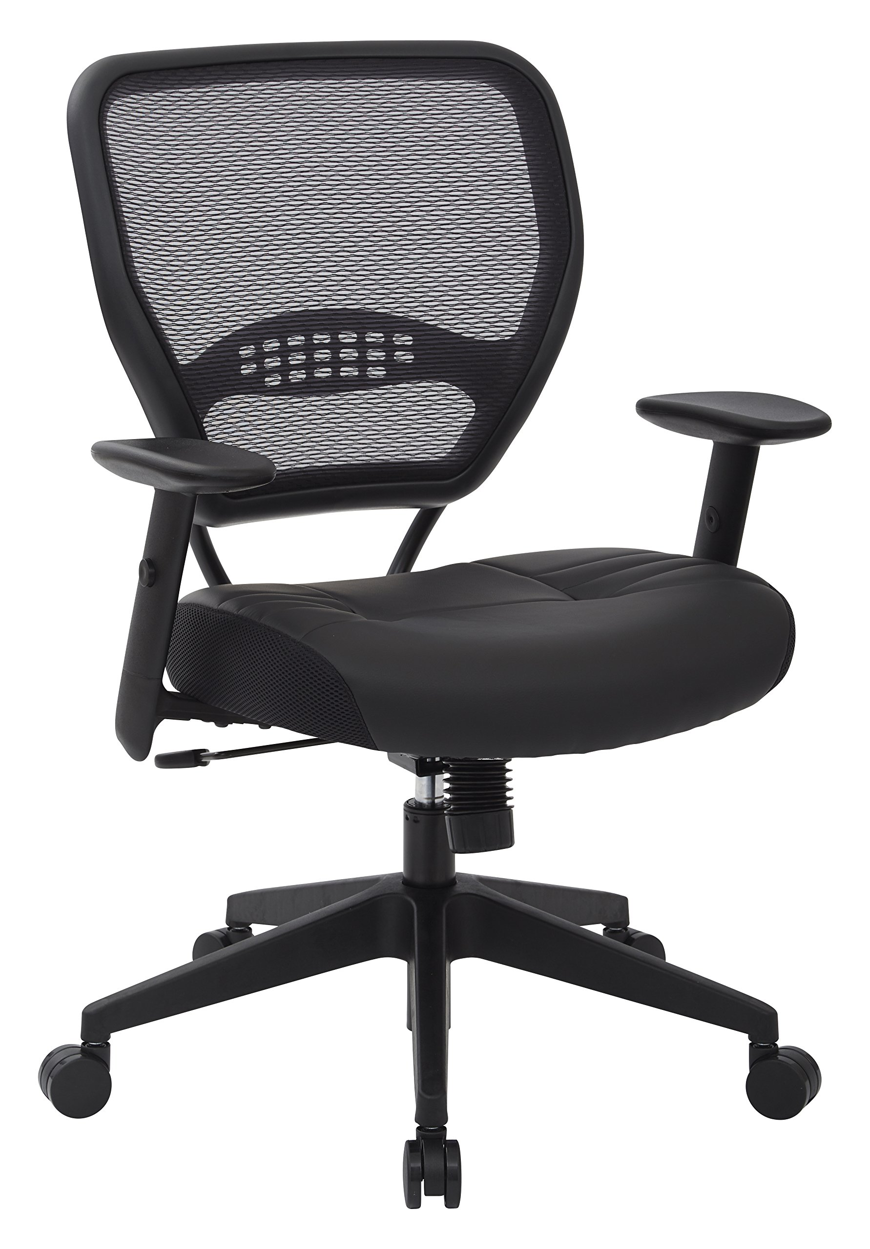 SPACE Seating Professional AirGrid Dark Back and Padded Black Eco Leather Seat, 2-to-1 Synchro Tilt Control, Adjustable Arms and Tilt Tension with Nylon Base Managers Chair by Space Seating