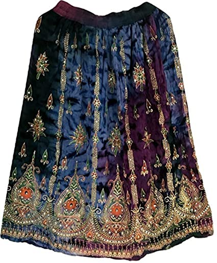 966a5c233 Colourful Womans Ladies Indian Boho Hippie Gypsy Sequin Summer Sundress  Maxi Belly Dance Skirt (21