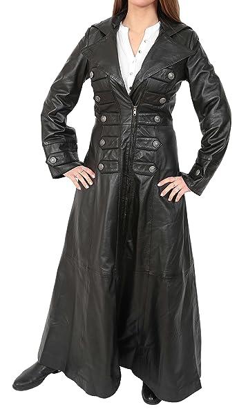 House Of Leather Mujer Longitud Completa Largo Abrigos de Cuero Militar Estilo Gótico Kourtney Negro (