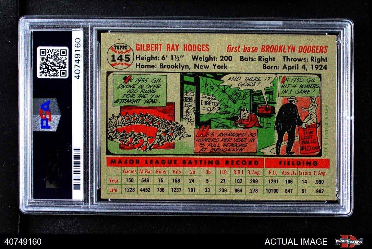 Grey Back PSA 6 Baseball Card 1956 Topps # 145 GRY Gil Hodges Brooklyn Dodgers EX//MT Dodgers