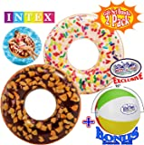 """Inflatable Donut Swimming Tubes (45"""") with Realistic Printing """"Rainbow Sprinkle"""" & """"Nutty Chocolate"""" Gift Set Bundle with Bonus Matty's Toy Stop 16"""" Beach Ball - 2 Pack"""