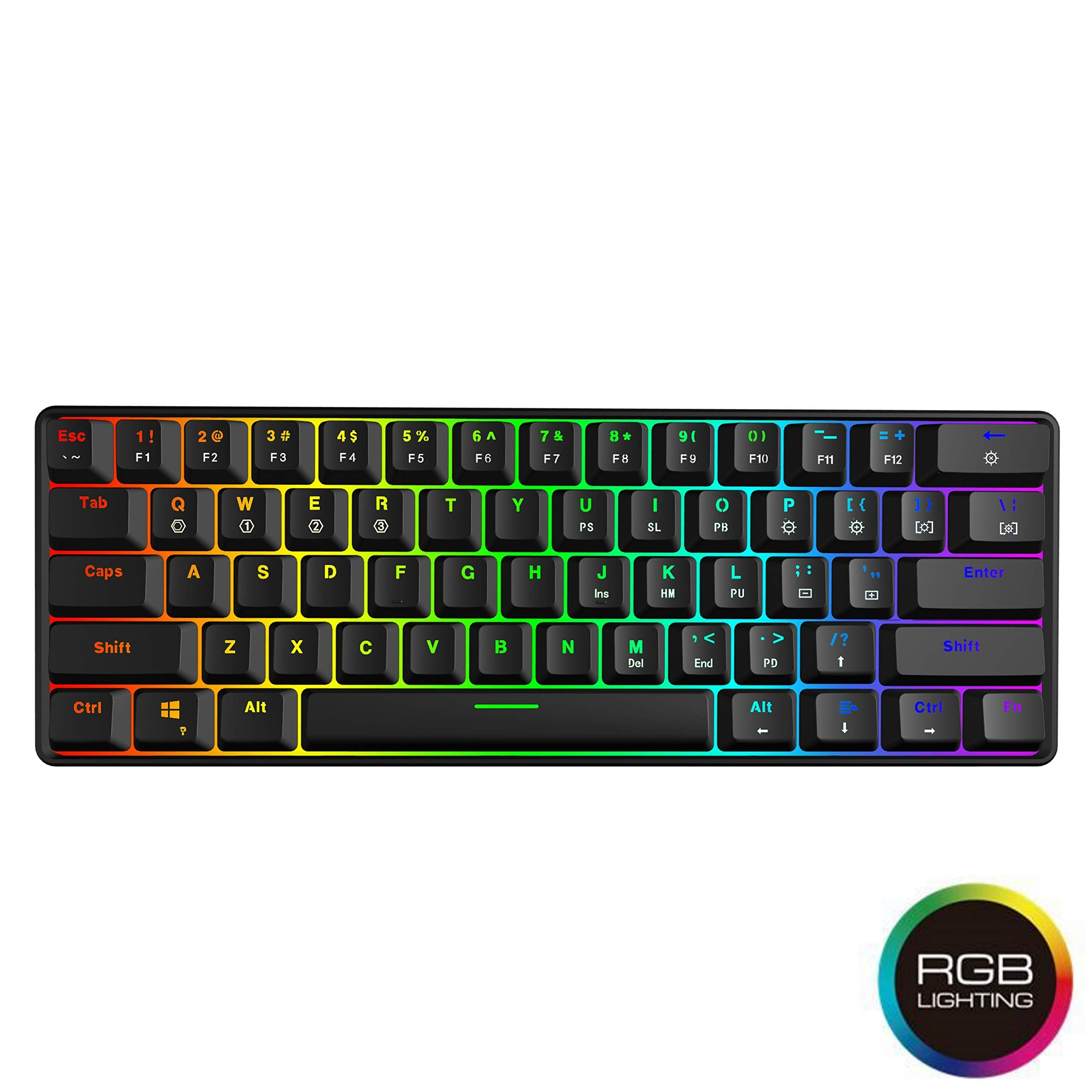 HK Gaming - GK61 Hot Swappable Mechanical Keyboard - 61 Keys Multi Color RGB Illuminated LED Backlit Wired Gaming Keyboard, Waterproof Programmable, for PC/Mac Gamer, Typist (Gateron Optical Brown) by HK Gaming