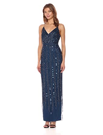 Adrianna Papell Women's Long Beaded Slip Dress, Deep Blue, 4