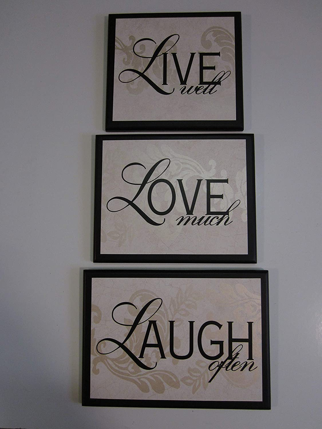 Amazon Com Live Well Laugh Often Love Much Wall Decor Plaques 3 Piece Set Quote Quotes Elegant Feminine Wood Wooden Plaque Sign Picture Wall Decor Hanging Unique Unusual Gift Handcrafted Handmade