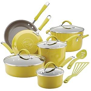 Rachael Ray Cucina Hard Porcelain Enamel Nonstick Cookware Set, 12-Piece, Lemongrass Green