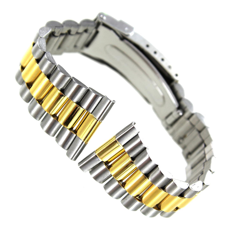 20 mm Morellatoステンレススチール&ゴールドトーンStraight End Fold Clasp Watch Band 0213  B01IIDMZW6