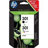 HP 301 2-pack Black/Tri-color Original Ink Cartridges - Cartucho de tinta para impresoras (Negro, Cian, Magenta, Amarillo, HP, HP DeskJet 1000 Printer series - J110; HP DeskJet 1050 All-in-One Printer series - J410; HP DeskJet , Inyección de tinta)