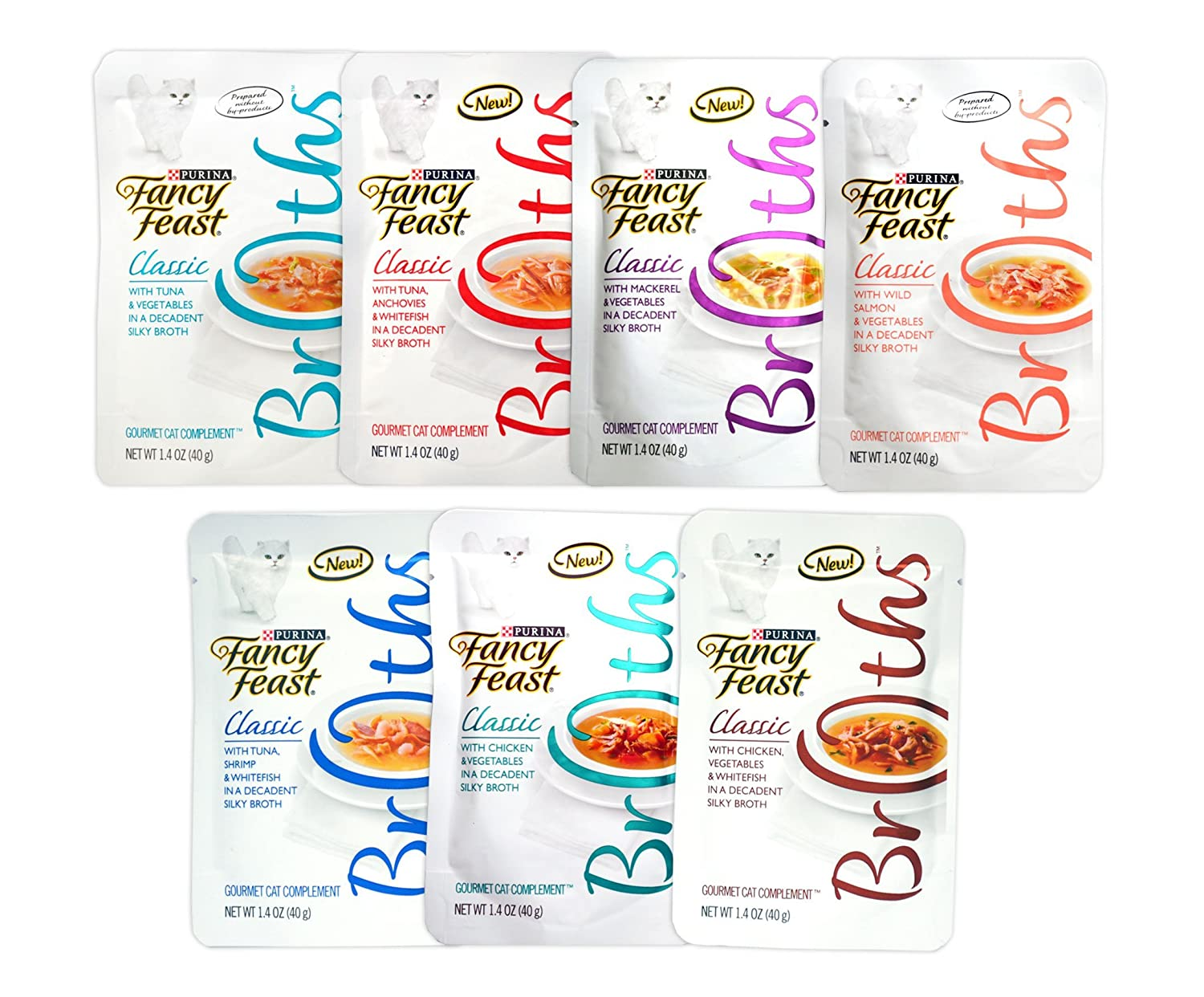 14 Pack Fancy Feast Gourmet Bredhs Variety Pack for Cats 7 Classic Flavors, 1.4 Oz Each by Fancy Feast