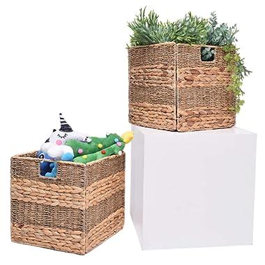StorageWorks Seagrass & Hyacinth Woven Storage Basket with Iron Wire Frame, Foldable Storage Wicker Baskets Organizer, Medium,10.6 x10.6 x11 , 2-Pack