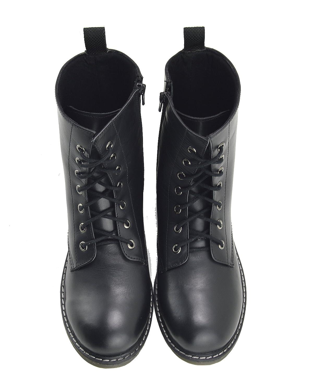 Kick Footwear Señoras Tobillo Retro Botas de Combate de Las Mujeres de Encaje Funky Vintage Gótico Botas de Tobillo - UK4/EU37, Negro Mate