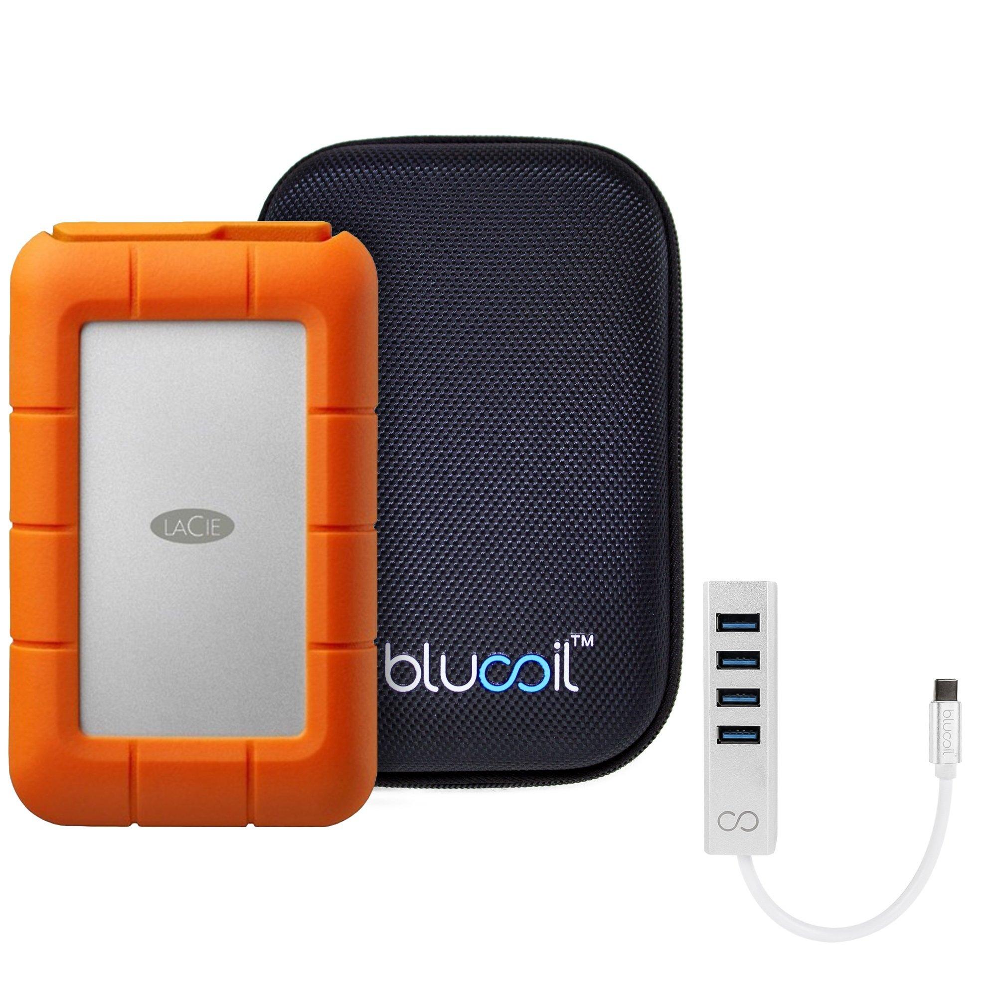 LaCie STFA4000400 Rugged RAID 4TB Mobile Hard Drive with Thunderbolt/USB 3.0 / USB 2.0 BUNDLED WITH Blucoil Portable Shockproof Hard Case AND Mini USB-C Hub