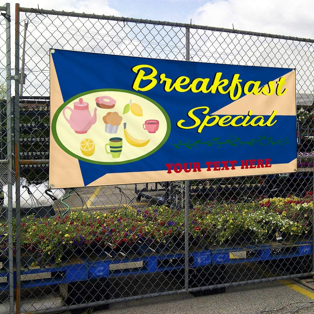 Custom Industrial Vinyl Banner Multiple Sizes Breakfast Special Style C Personalized Text Here Funny and Novelty Outdoor Weatherproof Yard Signs Blue 8 Grommets 44x110Inches