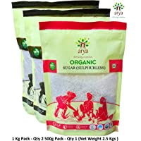 Arya Farm Certified Organic Sulphurless Sugar 2.5 Kgs ( No Chemicals / No Pesticides / Pure / Sulphurless )